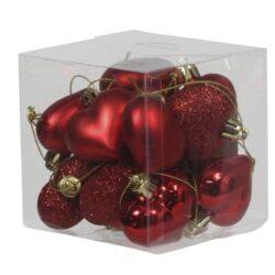boks med 15 stk. små røde plastik hjerter til jul og bordpynt med forskellige overflader