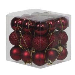boks med 27 stk. små mørkerøde plastik julekugler med forskellige overflader