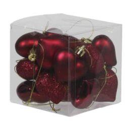 boks med 15 stk. små mørkerøde plastik hjerter til jul og bordpynt med forskellige overflader