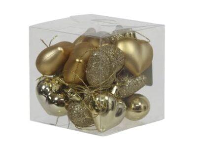 boks med 15 stk. små guld plastik hjerter til jul og bordpynt med forskellige overflader