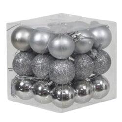 boks med 27 stk. små sølv plastik julekugler med forskellige overflader