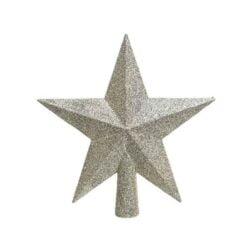 perlemor glitter topstjerne i plastik til juletræets top Ø 19 cm.