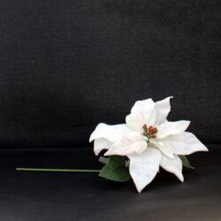 kunstig julestjerne blomst hvid med stilk til juledekorationer