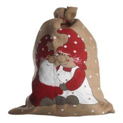 gammeldags hessian sæk med påtrykte nisser på forsiden til julegaver