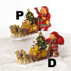 nisse pige med hundeslæde med juletræ og julegaver