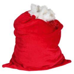 julemandens gavesæk til julegaver i lækker rød og hvid plys