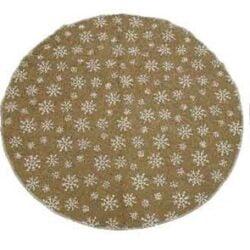 juletræstæppe i naturfarvet sækkelærred med snefnug print