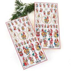 klistermærker med nostalgisk julemand til hjemmelavede julekort
