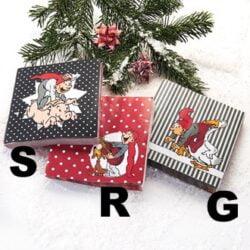 servietter til jul med bramming nisse der rider på gris