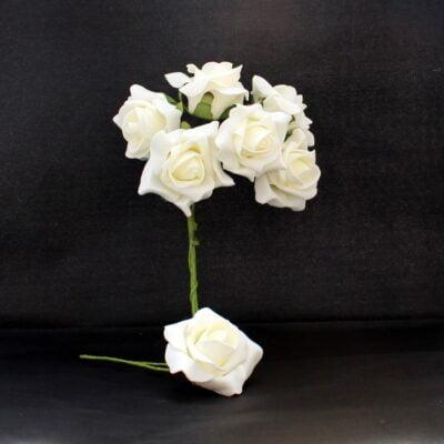 kunstig rose blomst råhvid med stilk til juledekorationer
