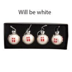 julekugler små hvide glas med danske flag til under halv pris