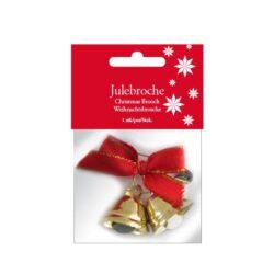 julebroche med 2 små guldklokker med rød sløjfe og sikkerhedsnål til at sætte på tøjet