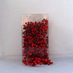 kunstig naturtro rød bær med stilk til juledekorationer og kirkegårdspynt