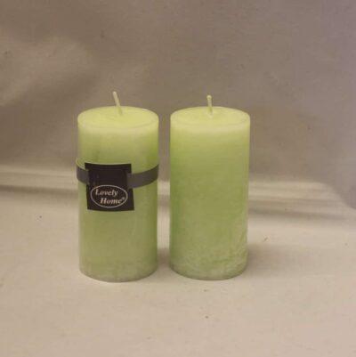 kiwi farvet lime æble grøn stearinlys diameter 5 cm. gennemfarvet bloklys 10 cm. høj