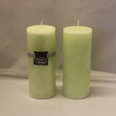 kiwi farvet lime æble grøn stearinlys diameter 6 cm. gennemfarvet bloklys 15 cm. høj