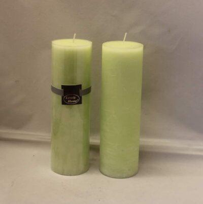 kiwi farvet lime æble grøn stearinlys diameter 6 cm. gennemfarvet bloklys 20 cm. høj