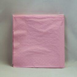 middags servietter ensfarvede 3 lags lyserøde - rosa farvede 20 stk.