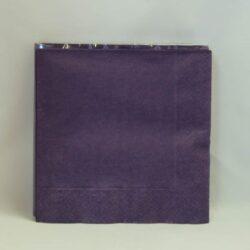 middags servietter ensfarvede 3 lags lilla farvede 20 stk.