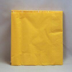middags servietter ensfarvede 3 lags gule 20 stk.