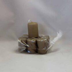 lille sand farvet stearinlys 4 x 6 centimeter i pose med 6 styk