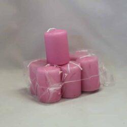 lille pink cerise farvet stearinlys 4 x 6 centimeter i pose med 6 styk