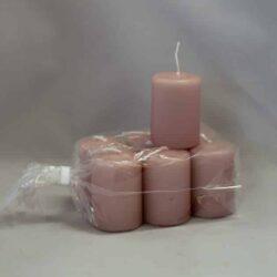 lille lyng farvet / gammelrosa stearinlys 4 x 6 centimeter i pose med 6 styk