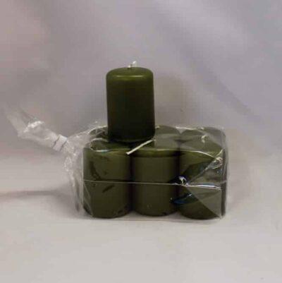 lille grøn stearinlys 4 x 6 centimeter i pose med 6 styk