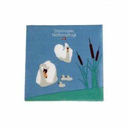 servietter med danmarks nationalfugl knopsvanen med unger i sø 20 stk. frokostservietter