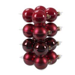glas julekugler mix af forskellige julerøde med matte og blanke overflader diameter 8 cm