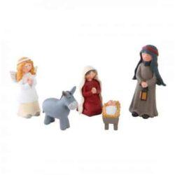 krybbespil figurer op til 10 cm. med jesus josef maria englen gabriel og et æsel