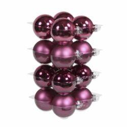 glas julekugler lyng lilla med matte og blanke overflader diameter 8 cm