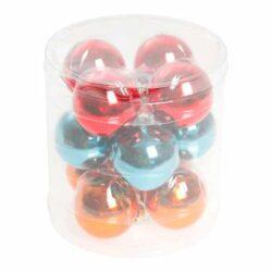 julekugler i glas diameter 4 centimer i rød turkis orange