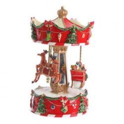 jule spilledåse som karrusel med julemand og rensdyr