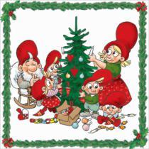 juleservietter med julius nissen som danser om juletræ med sin familie