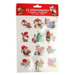 klistermærker med 24 numre til julekalendergaver