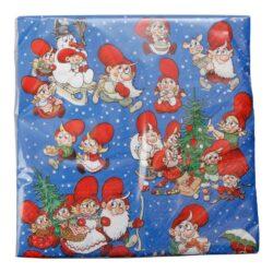 juleservietter blå med mange julius nisser