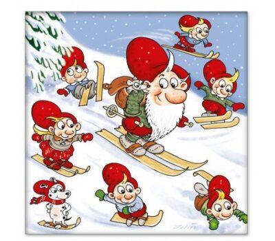 juleservietter med julius nisser på ski på skibakke