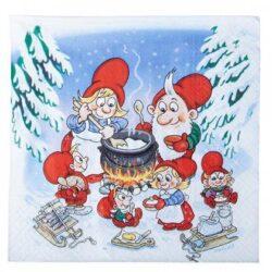 juleservietter med julius nissen som koger risengrød over bål