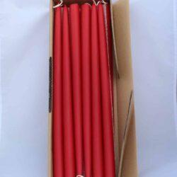 røde hånddyppede almindelige tynde stearinlys til lysestager 40 centimeter høje