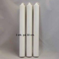 stearinlys diameter 3 centimeter hvide i ren stearin 30 centimeter høje