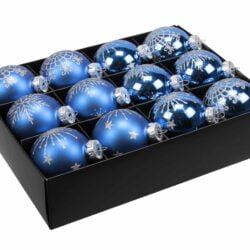 12 styk kongeblå glas julekugler matte og blanke ø 75 mm med dekoration