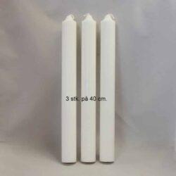 stearinlys diameter 3 centimeter hvide i ren stearin 40 centimeter høje