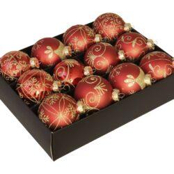 12 styk røde glas julekugler ø 75 mm med dekoration