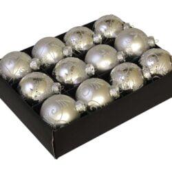 Julekugler glas SØLV  Ø 75 mm med dekoration, 12 stk. til juletræ
