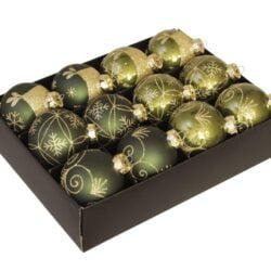 Julekugler glas GRØN Ø 75 mm med dekoration, 12 stk. til juletræ