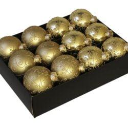 12 styk guld glas julekugler ø 75 mm med dekoration