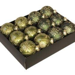 12 styk 2 nuancer grønne glas julekugler ø 75 mm med dekoration