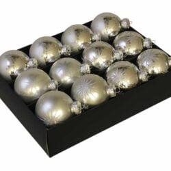12 styk matte og blanke sølv glas julekugler ø 75 mm med dekoration