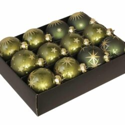 12 styk grønne glas julekugler ø 75 mm med guld stjerner dekoration