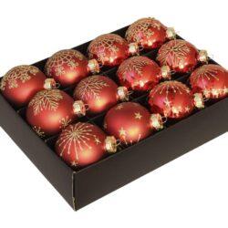 12 styk røde glas julekugler ø 75 mm med guld dekoration